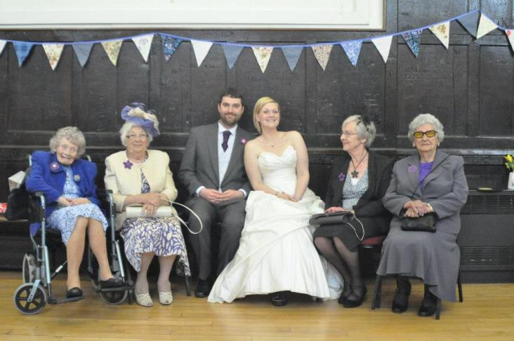 Gran B, Gran R, Joe, Me, Joe's Granny T and Joe's Grandma H on our wedding day